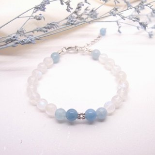 Pink Butterfly | Gradient Aquamarine Blu Ray Moonstone Sterling Silver Bracelet