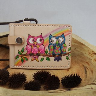 Three-layer leather card holder ID set best partner - owl