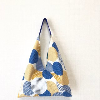 Triangle-shaped tote bag / Japanese origami bag - yellow and blue circle + blue big point