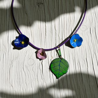 Morning Glory Flower Enamel Necklace, Flower Necklace, Flower Jewelry, Floral