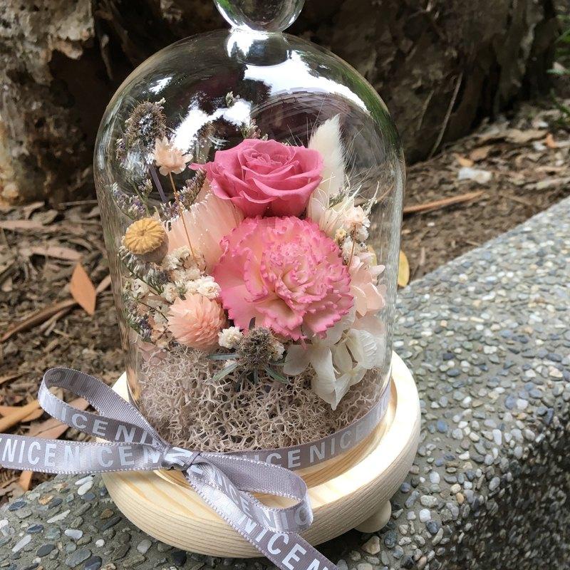 呵護與愛玻璃永生花盅 母親節 情人節 畢業禮物