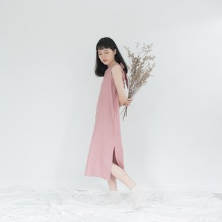 Lotus Pink Big Bow Linen Dress