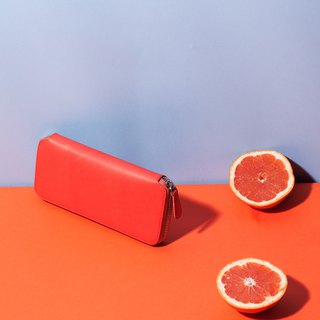Bodhi says FOSTYLE tanned leather handmade leather wide version of the long zipper wallet coral red