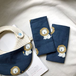 Muffin Mambo cream lion Korean organic cotton moon gift box two-piece bib + sling with saliva towel