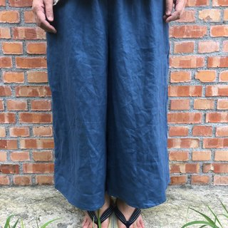 Pure linen wide-shaped も ん ぺ wide tube pocket pants
