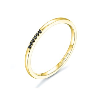 【PurpleMay Jewellery】18k Yellow Gold Black Diamond Ring Band R029