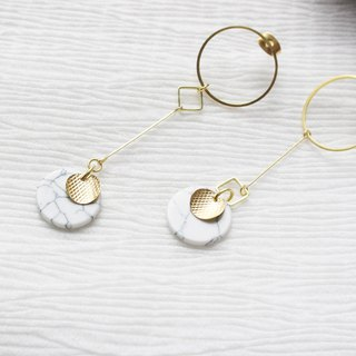 geometry. Simple white turquoise circle brass long earrings ear sterling silver