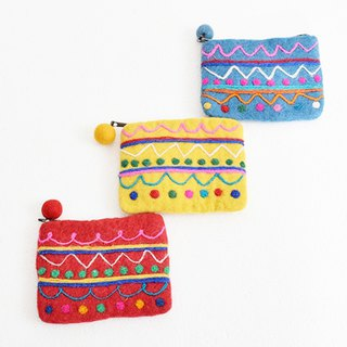 Colorful polka dot × border felt pouch