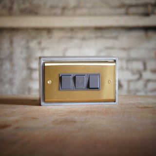 Three open / brass series / switch / three way switch / black gray (without metal box)