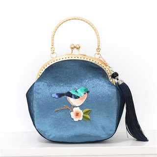 On the new pieces of the first 5 fold) mouth gold package cheongsam bag Messenger bag embroidery bird iphone phone bag mobile phone bag oblique bag bag bag birthday gift blue