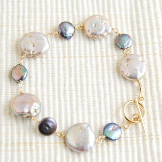 2 kinds of coin pearl bracelet mauve x Navy (14kgf)