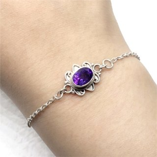 Amethyst 925 sterling silver exotic style bracelet Nepal handmade mosaic production