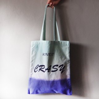 CRASY Purple x Blue Green - Canvas Hand Dye Tote Bag Back