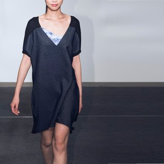 [DRESS] denim stitching back drape dress
