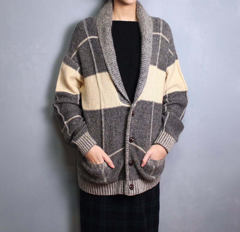 FOAK vintage Japanese gray rice plaid sweater coat