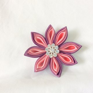 Pink and Purple Flower clip. Kanzashi Ribbon flower hair clip.