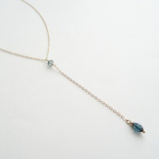 Tiny Rondelle and Marquise Tourmaline Dainty 14K GF Y-Necklace - Blue