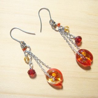 Grapefruit forest handmade glass - if the leaf - earrings - amber x red - (can increase clip-free increase)