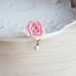 Pearl Rose Sterling Silver Earrings / Ear Clips