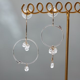 14 kgf × SV 925 nocolored combination pierced earrings