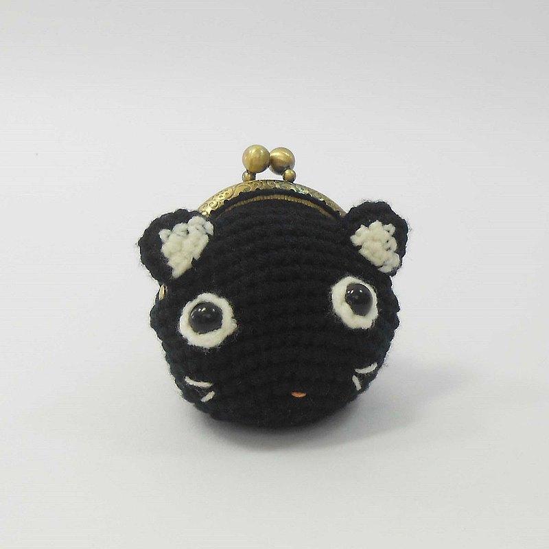 手工鉤織貓頭口金零錢包-05黑貓