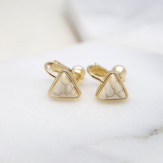 Wave Initial Value - White Triangle Ear Clip Earrings (pair)