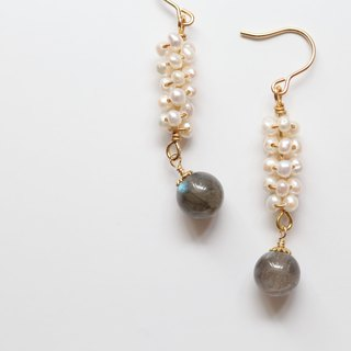 Pearl Spectral Stone (Labradorite) Earrings │14kg Convertible Christmas Gifts