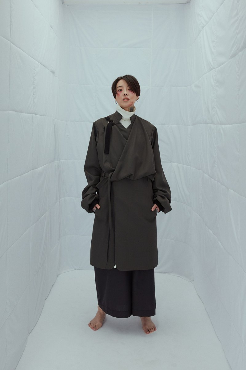 INF 18AW kimono deconstructed suit wool long coat