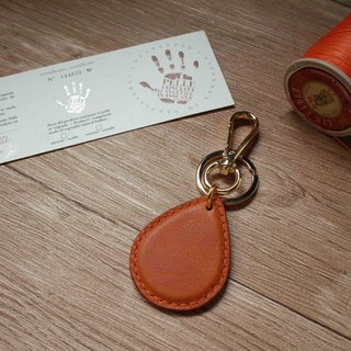 Minerva box wrestling leather leisure card chip pendant - water drop shape - orange coffee