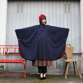 F3079 [Vintage cloak] within Cape Coat dark blue wool pattern in fine red wool cape coat