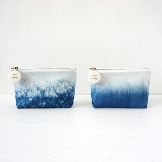 S.A x Sparkle/ Spruce Forest, Indigo dyed Handmade Natural Pattern Cosmetic Case