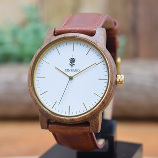 EINBAND Glanz WHITE 40mm Wooden Watch Brown Leather Belt
