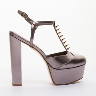 [Saint Landry] retro rivet design high-heeled shoes - Silver Xingzuan