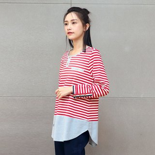 Fake two-piece striped cotton shirt (red)