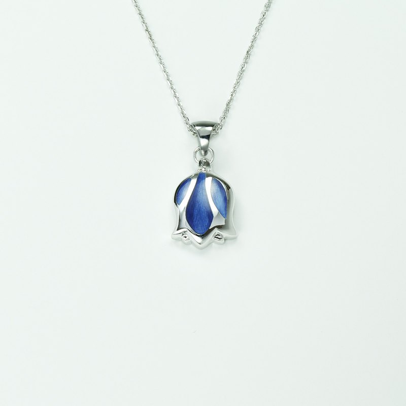 Surprise at the end of the year-Tulip Enamel 925 Silver (Large) Pendant-Elegant Royal Purple