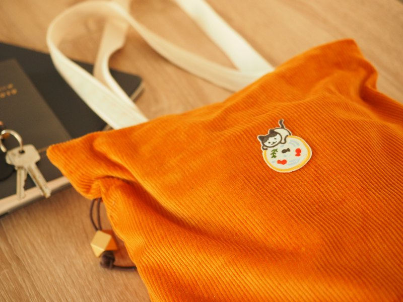 Handmade canvas tote bag with Cat Embroidery