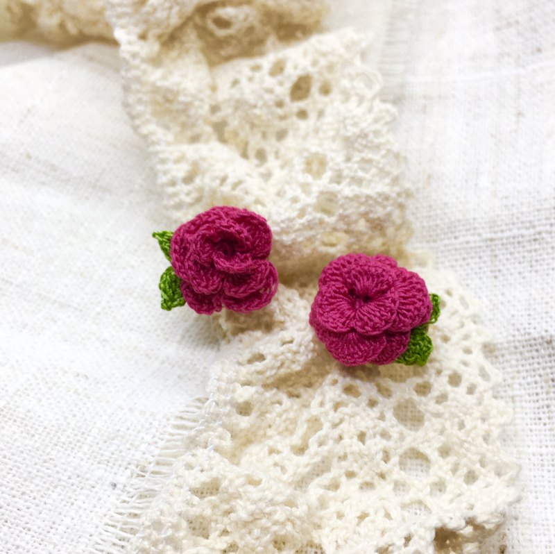 Elegant crochet rose earrings