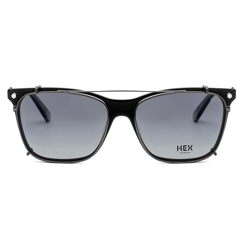 Optical glasses with front hanging sunglasses | sunglasses | black box | Italy | plastic frame metal
