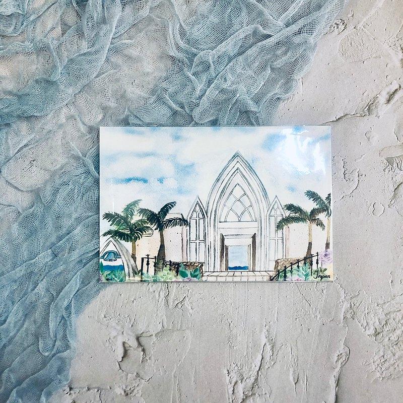 手繪水彩日本教堂風景明信片