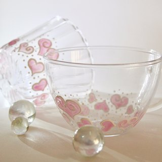 Pink Hearts Unique Painted Glass Cup・Gift Tea Mug・Gift Cup for Tea Lover