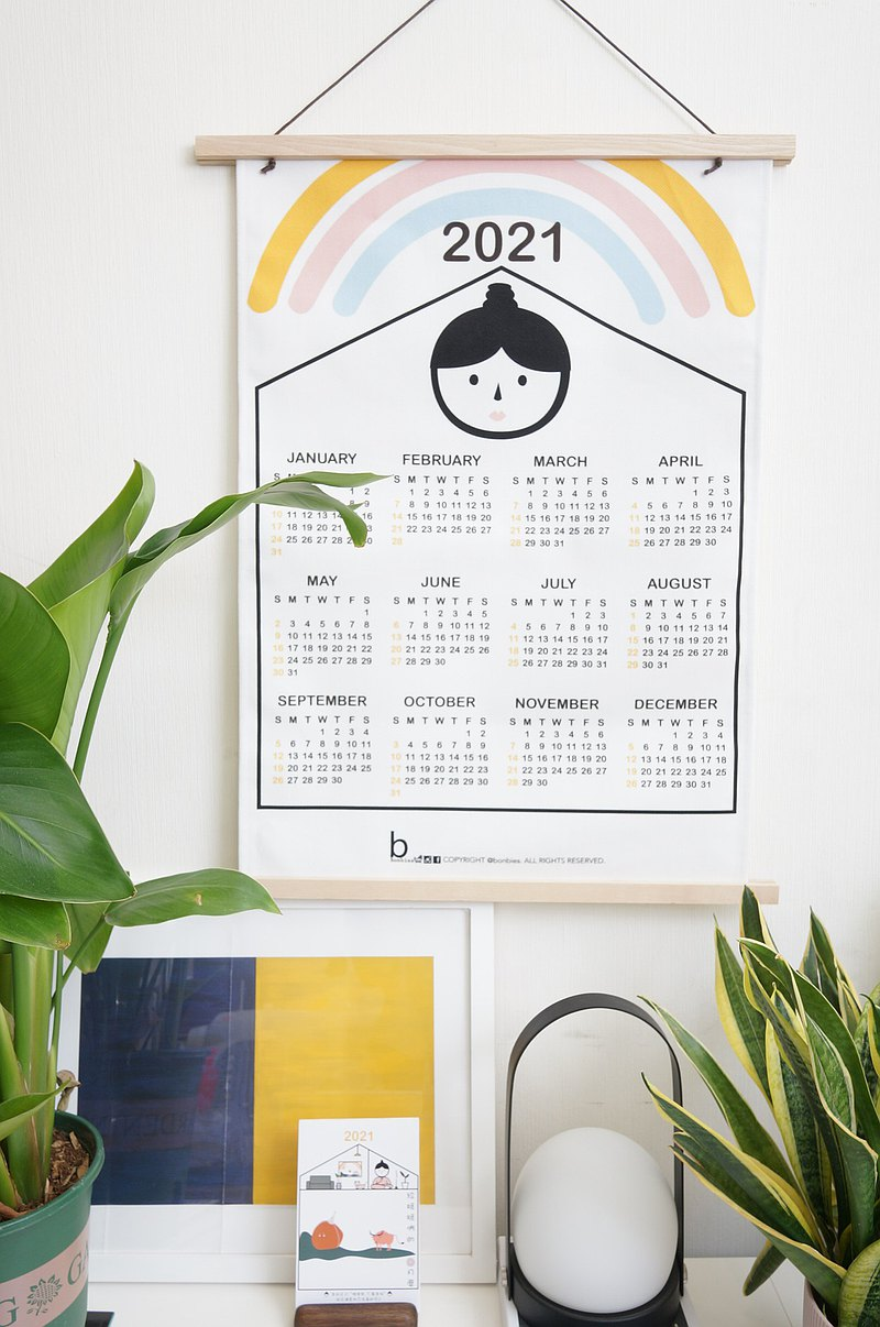 2021年 布月曆掛布 二寶媽大頭與彩虹