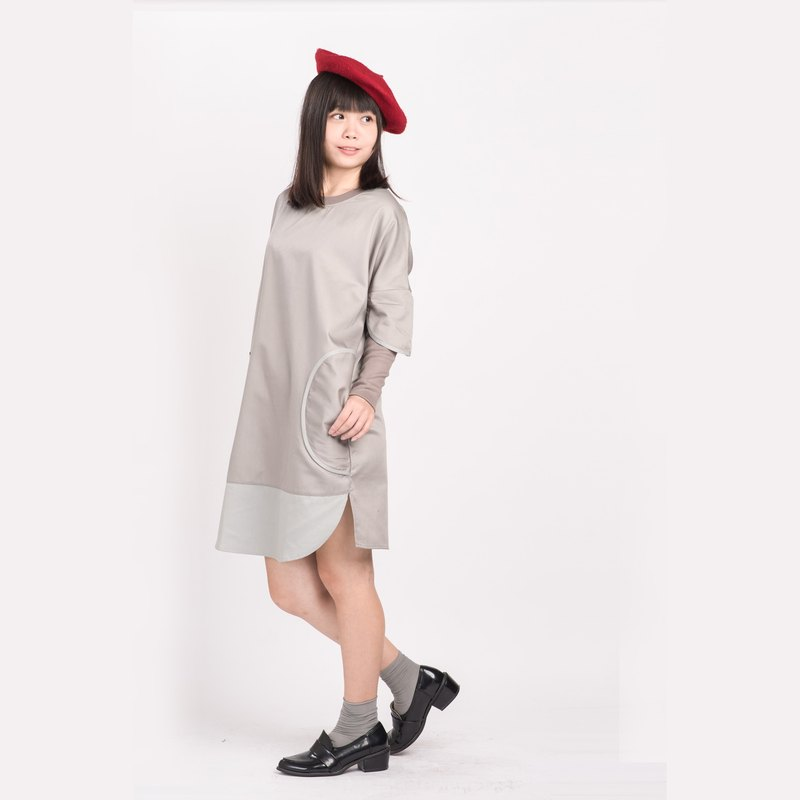 "All the best so far"" stitching long sleeve long shirt top dress gray (new color)"