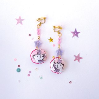 Hand - painted embroidery earrings purple star  little me earrings