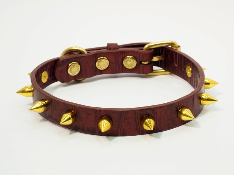 Anti-rivet rivet crocodile pattern leather limited collar (limited to 15 groups, send English phone brand name)