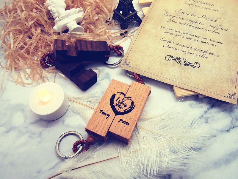 *For Lover - Wood key ring with laser lettering