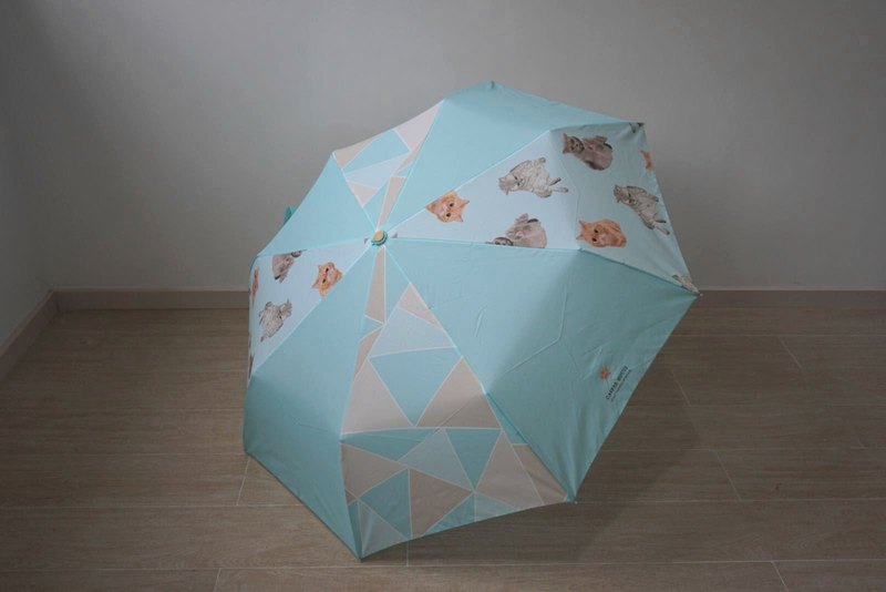 Mosaic animals, Manual open, three-fold umbrella, Cat