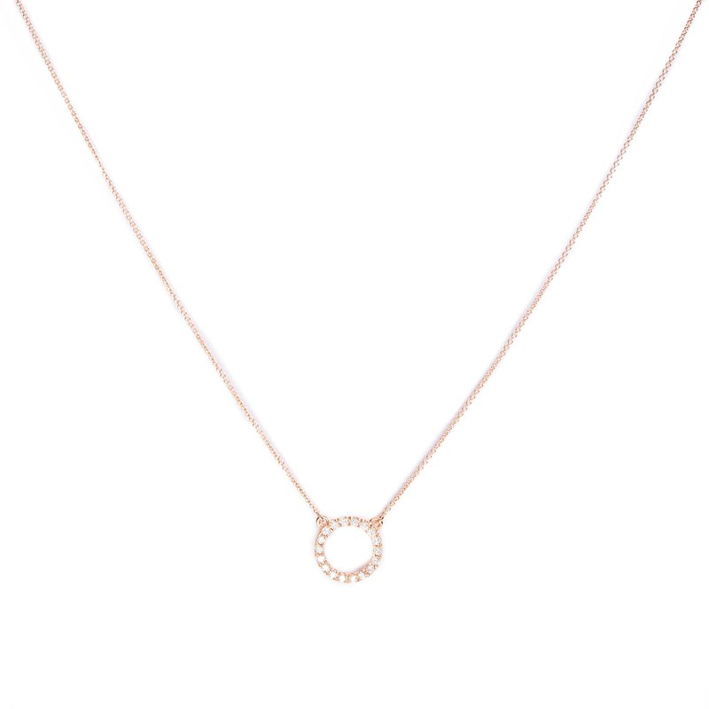 [Light Jewelry] Pure 14K Gold Round Diamond Necklace - Rose Gold