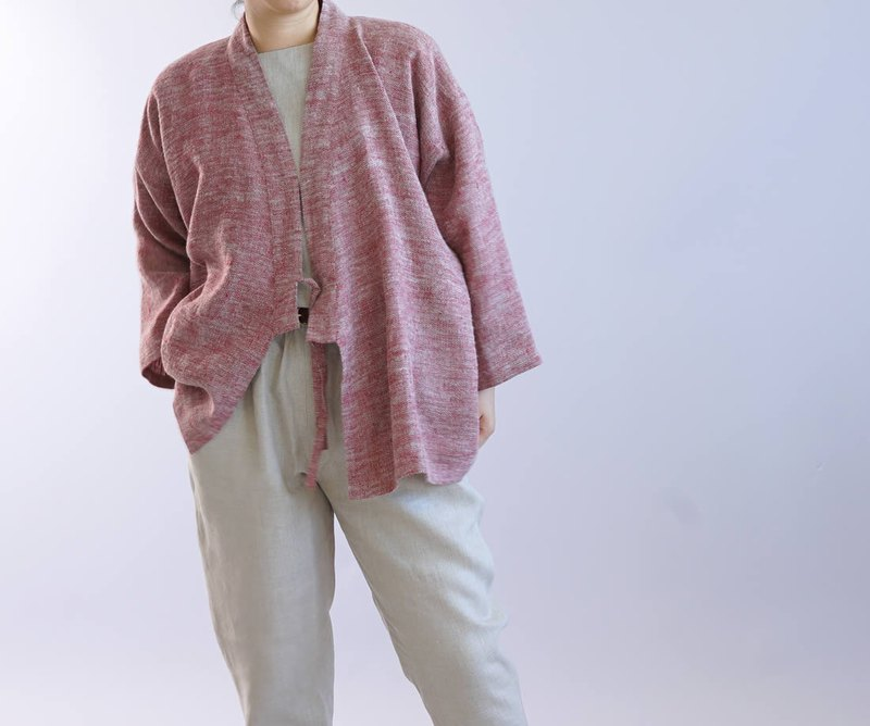 wafu   linen cardigan / worm raised fabric linen / outerwear / red  b37-3