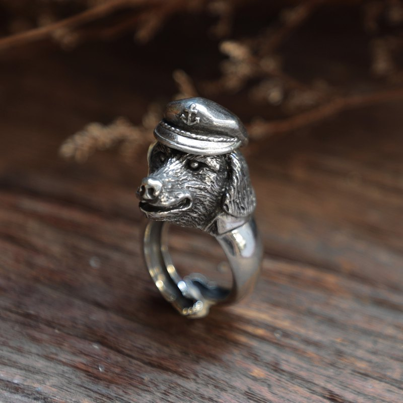Captain Labrador Retriever dog ring unisex sterling silver biker cat pet cute