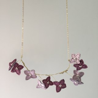 [ Bluesy Mod ] --- Slender Silhouette floret necklace . 黃銅幼線剪型花朵項鍊